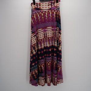 Renee C. Abstract Print Long Maxi Boho Skirt